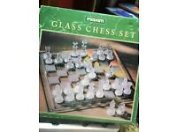 (Offers welcome) Ornate glass chess set full will all pieces