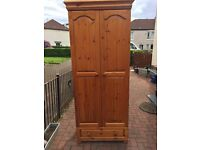 Reduced - Solid Pine Double Wardrobe With Drawer