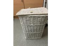 Wicker laundry basket white tall