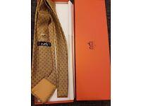 Genuine Mens Hermes 100% Silk Silver Tone Tie Boxed