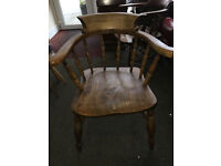 FAB VICTORIAN SMOKERS BOW ARMCHAIR / ANTIQUE COUNTRY WINDSOR CAPTAINS DESK CHAIR