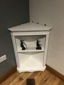 White corner cupboard