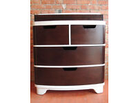 Large Chocolate and White Chest of Drawers with rounded corners (Delivery)
