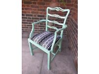 Rustic vintage boho carver chair. Dining, office, hallway. Verdigris distressed/shabby chic.