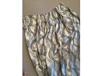 Curtains - brand new, pinch pleat, silver with black pattern