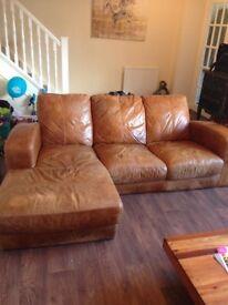 3 seater dfs leather corner sofa