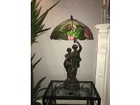 Vintage Black Lamp/ Man & Woman statue/ Glass Coloured Shade - red and green. Very good condition