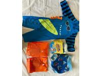 Toddler swimsuit, baby swim pants and swim nappies, inflatable arm bands