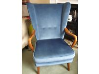 Vintage Howard Keith Wingback Bambino Chair in Wedgewood Blue Velour