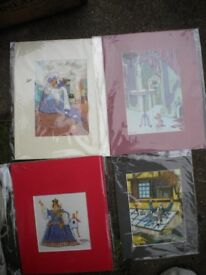 4 MOUNTED CARTOON PRINTS 18X12 INCHES IN MINT CONDITION