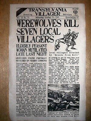 (438L) NOVELTY POSTER HALLOWEEN WEREWOLF TRANSYLVANIA WOLFMAN NEWS 11