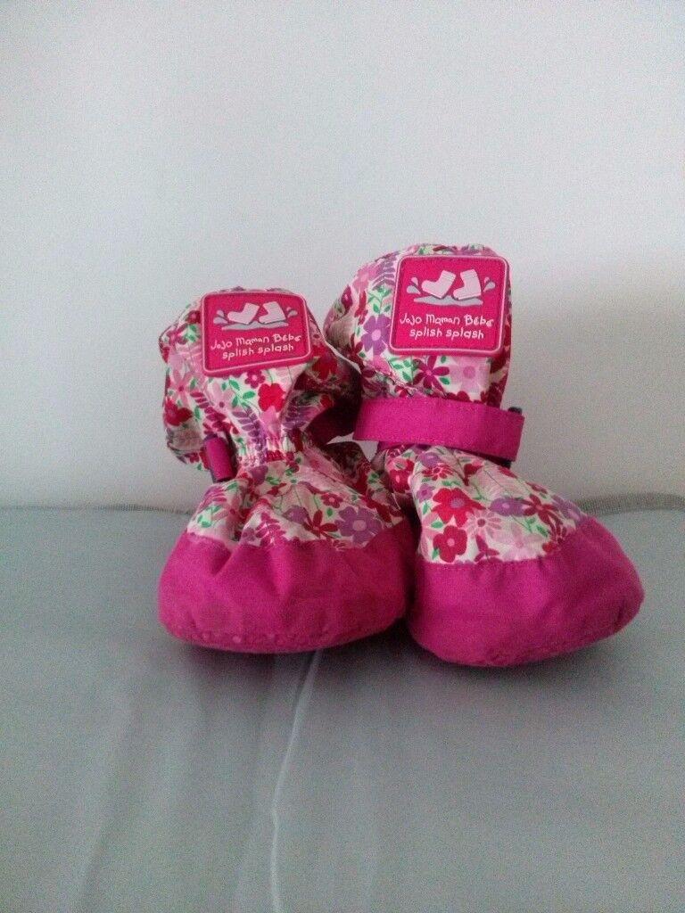 JoJo Maman Bebe Fleece Lined Baby Booties- Pink meadow