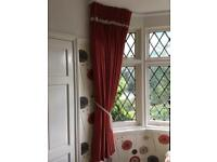 Professionally hand made rich red lined curtains, with crystal adornments and matching tie backs.