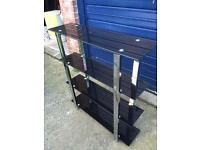 Black glass/chrome shelf stand