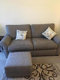 Large 2 Seater sofa, chair and footstool