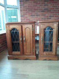 Solid wood unit with leaded glass. Will sell seperate or together. Collection only