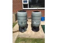 2 x large water butts with stands.