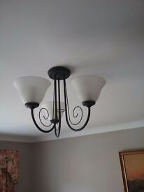 Black 3 branch ceiling light with matching wall lights