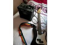 3/4 bass guitar and amp