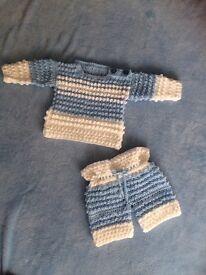 Baby boy 3-6 months jumper and trouser handmade set