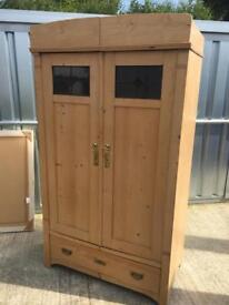 Old solid pine wardrobe