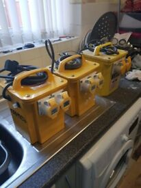 110v transformers .x 3. hardly used heavy duty uk made one new. CAN DELIVER im m24 middleton