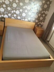 Ikea Malm double bed frame and bedside tables in oak