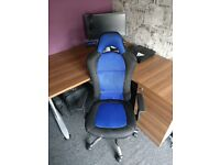 Blue and black gaming style chair