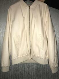 Strawberry cream leather jacket