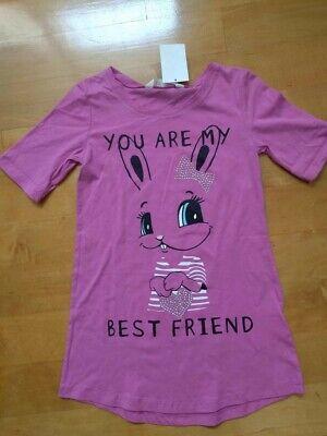 H&M GIRLS PINK BUNNY SHIRT BEST FRIEND SZ. 8-10