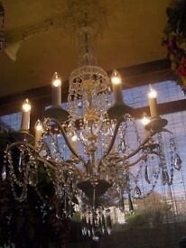 ~Very Large~ BEAUTIFUL 4 FOOT TALL CRYSTAL CHANDELIER