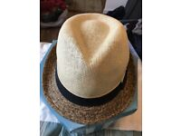 Beau Chapeau Trilby Natural with Black Trim, Never Worn