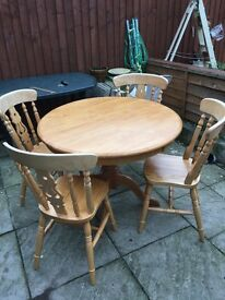 Solid pine table &chairs