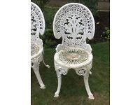 white cast iron garden chairs