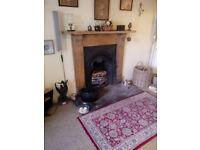 Antique cast iron fire place decoration only complete with antique pine fire surround