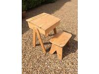 Child's wooden desk and stool