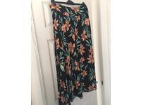 TU petite flower print long skirt size 16