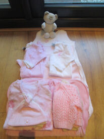 BUNDLE OF GIRLS BABY CLOTHES - NEW BORN - 6 MONTHS - BABYGROWS/SLEEPING BAGS/HATS/CARDIGANS