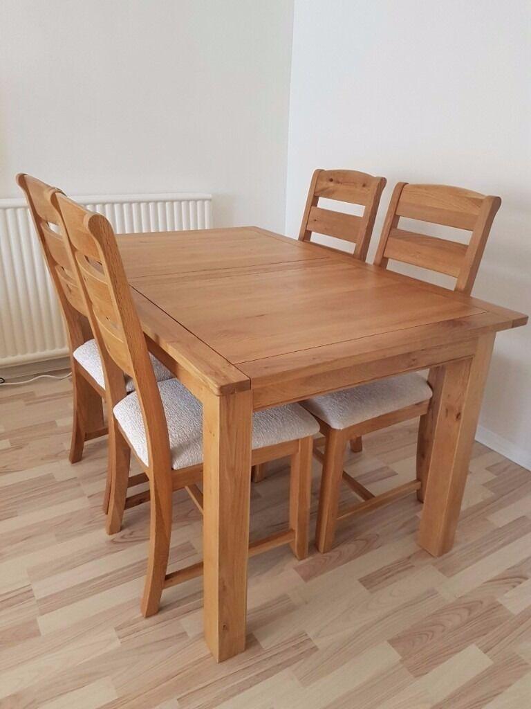 Harveys Keswick Solid Oak Extending Dining Table 4 Chairs Cream