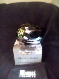 xl kids monster energy helmet and gloves brand new