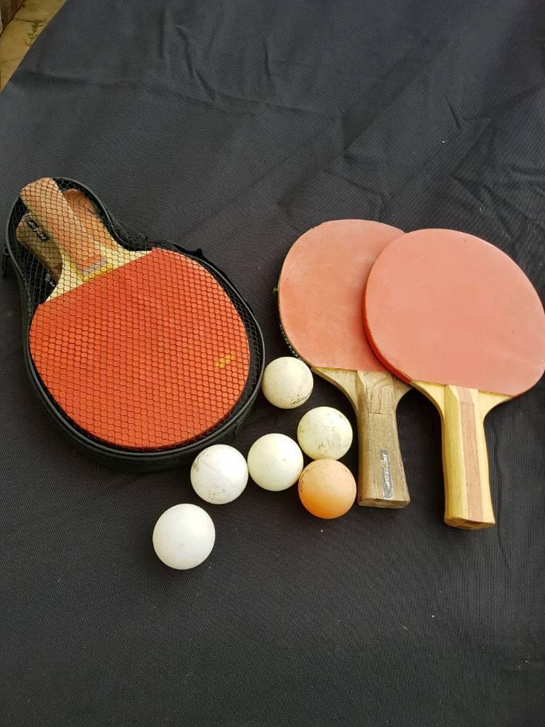 Ping pong bats and balls