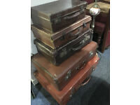 Charming Stack of 5 Leather Vintage Suitcases
