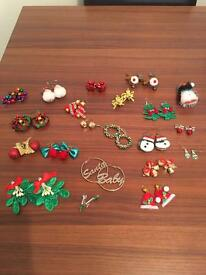 Christmas Earrings and Brooch