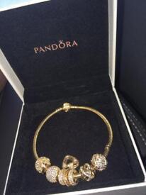 Pandora 14k gold bracelet with 7 charms