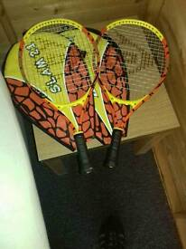 2 kids tennis rackets and covers