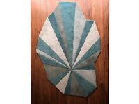 MODERN UNUSUAL WOOL RUG MULTICOLOUR BLUE
