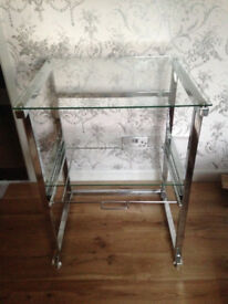 Small glass table/desk; 2 glass shelves with pullout suspension filing runners