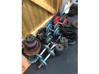 Over 200kg Weights, 5 Pairs Dumbells, 2 Barbells
