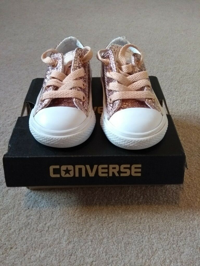 58d302ffcd7c Girls junior Rose Gold glitter converse size 5. Fab condition