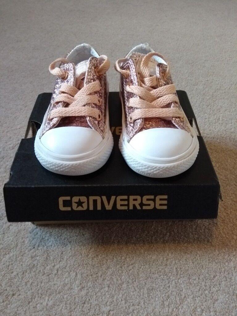 97d7250b7324 Girls junior Rose Gold glitter converse size 5. Fab condition